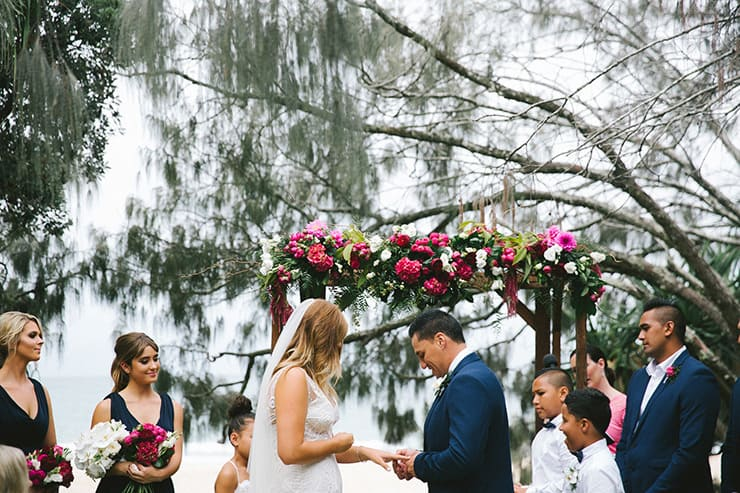 A Stylish Beach Wedding in Navy, Pink and White