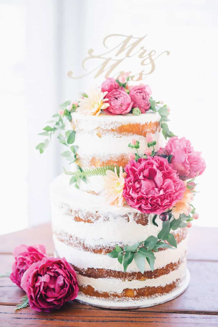 Amazing-Wedding-Cakes-Naked-Pink-Flowers-Mr-Mrs-Topper
