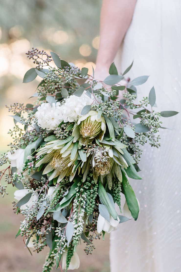 Beautiful-Wedding-Bouquet-Modern-Texture-Australian-Native-White-Gold-Green-Flowers