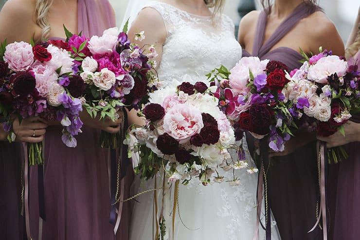 Beautiful Wedding Bouquet Rich Purple Red White