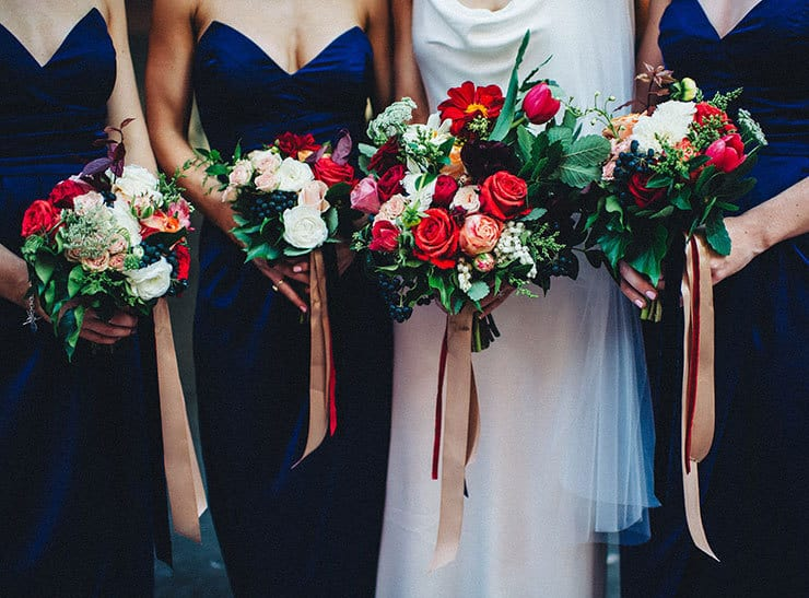 Beautiful-Wedding-Bouquet-Rich-Romantic-Red-Pink-Roses-Tulips-Bride-Bridesmaids
