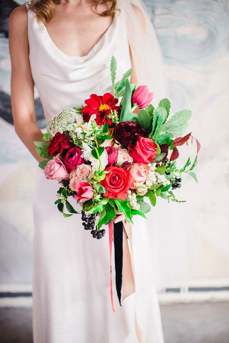Beautiful-Wedding-Bouquet-Rich-Romantic-Red-Pink-Roses-Tulips