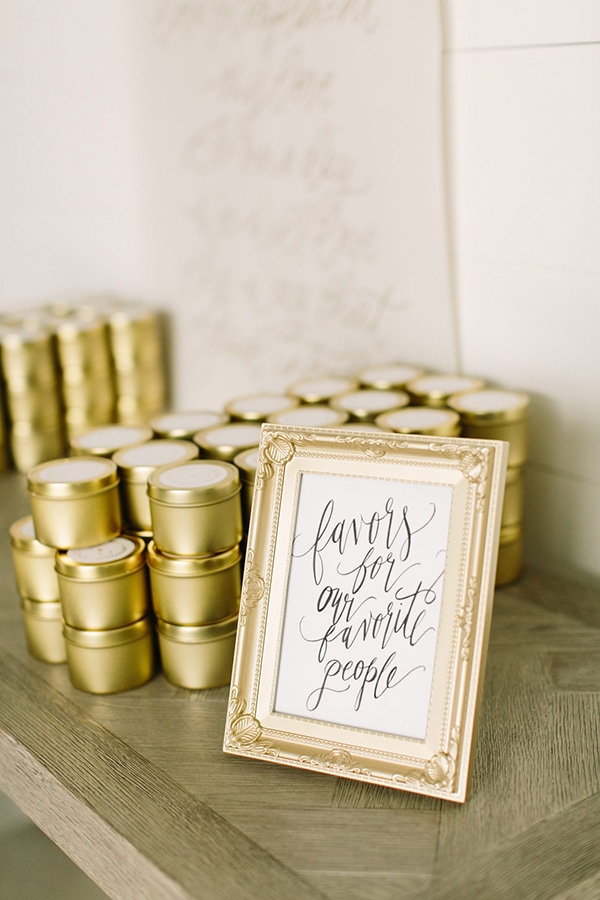 Candles in elegant gold tins for wedding favours - 'Favors for our favorite people' | Mustard Seed Photography via Martha Stewart Weddings