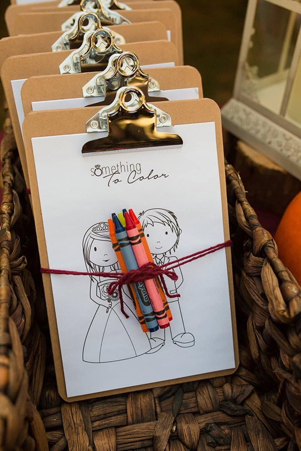 Fun colouring pages activity pack with crayons for kids as a wedding favour | Hart of Grace Photography via Budget Savvy Bride