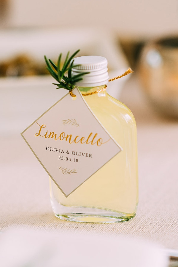 Mini bottles of Limoncello as favors for an Italy inspired wedding | Albert Palmer Photography via Whimsical Wonderland Weddings