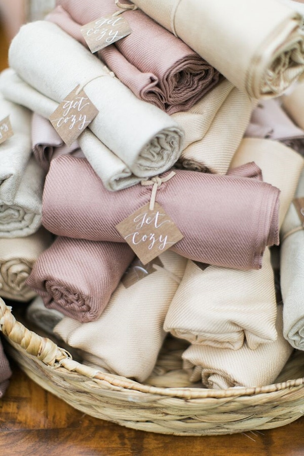 'Get Cozy' pashminas are a wearable winter wedding favour for guests | Hello Love Photography via The Knot