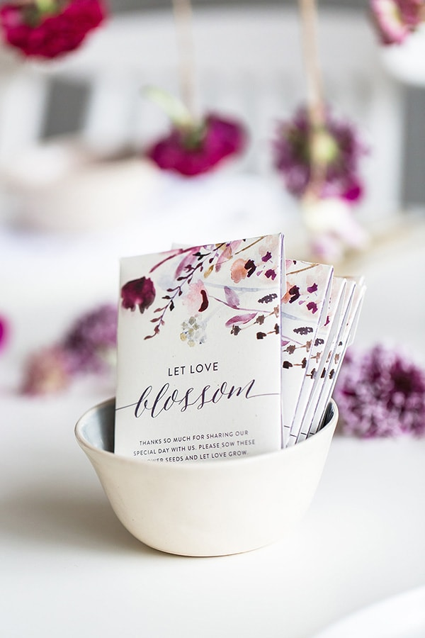 Eco-friendly 'Let Love Blossom' flower seed packet wedding favors | Wesley Vorster via Ruffled
