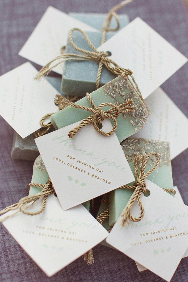 Handmade soap wedding favors finished with a thank you note tied with gold thread | Love Is A Big Deal via Ruffled