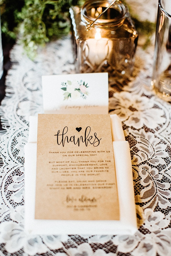 Kraft paper thank you card at each place setting as a wedding favour alternative | Sara Bee Photography via Wedding Chicks