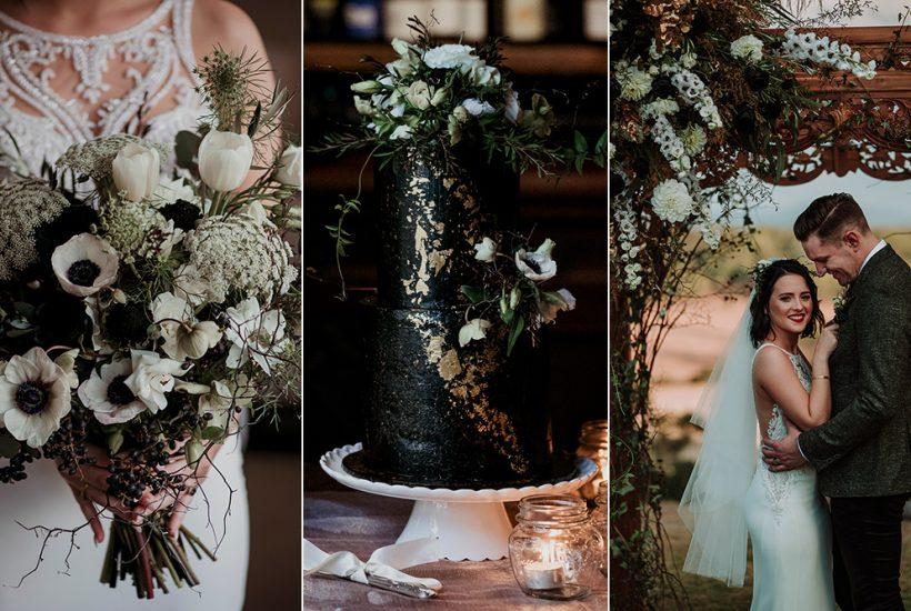 Striking Black, White & Forest Green Wedding Inspiration
