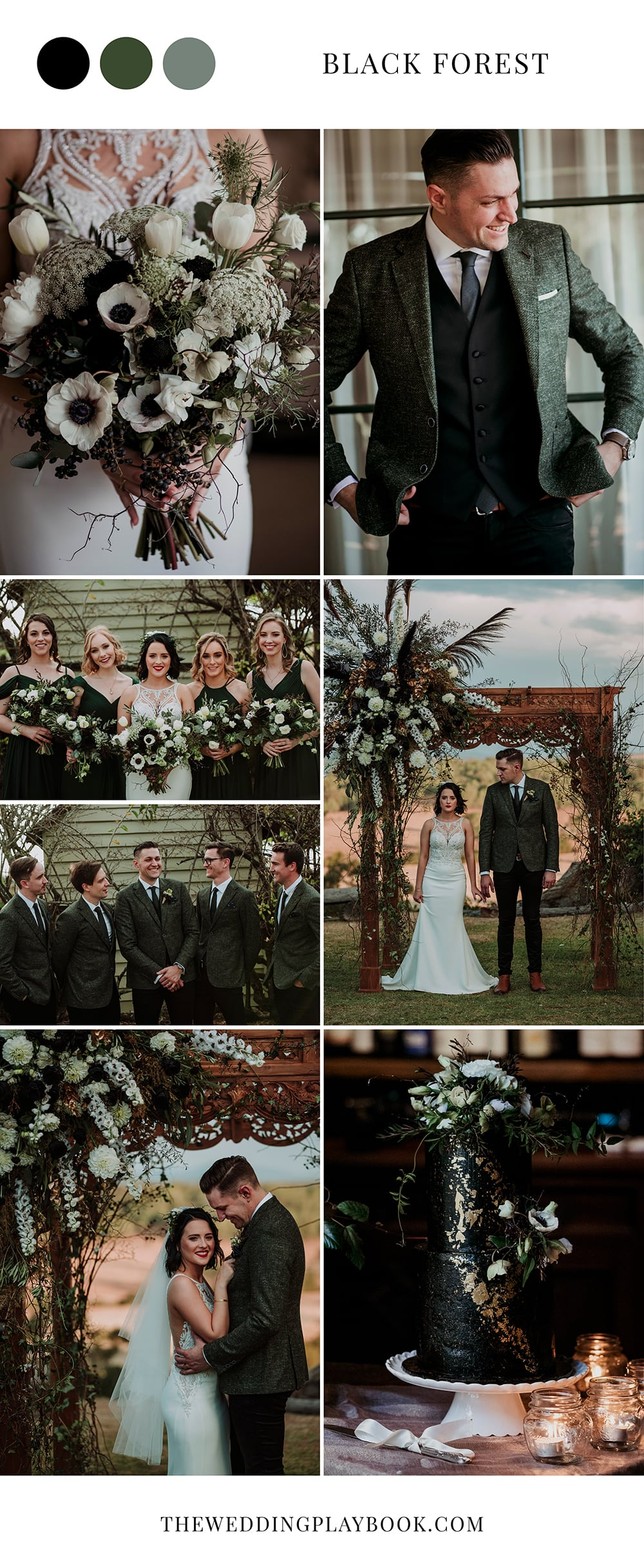 Striking Black, White & Forest Green Wedding Inspiration