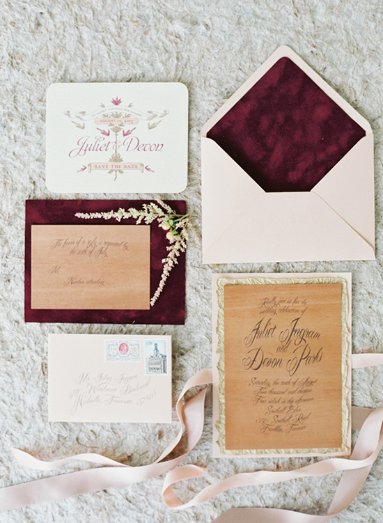 Bohemian burgundy wedding invitation | Elisa Bricker via 100 Layer Cake