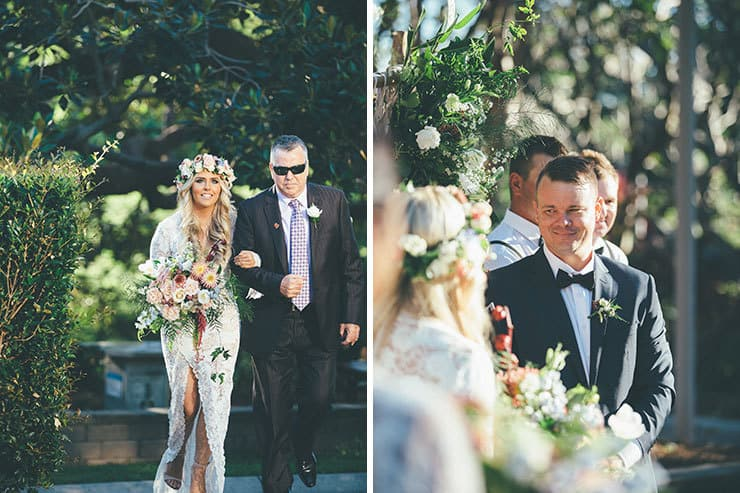 85dcd85962f5 Bohemian bride walking down aisle with father ...