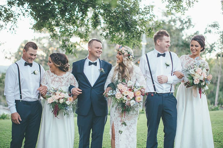 Bohemian luxe wedding bridal party
