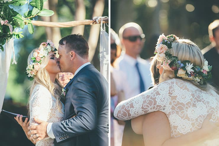 cf2e04122599 Bohemian bride walking down aisle with father Bride and groom first kiss  ceremony