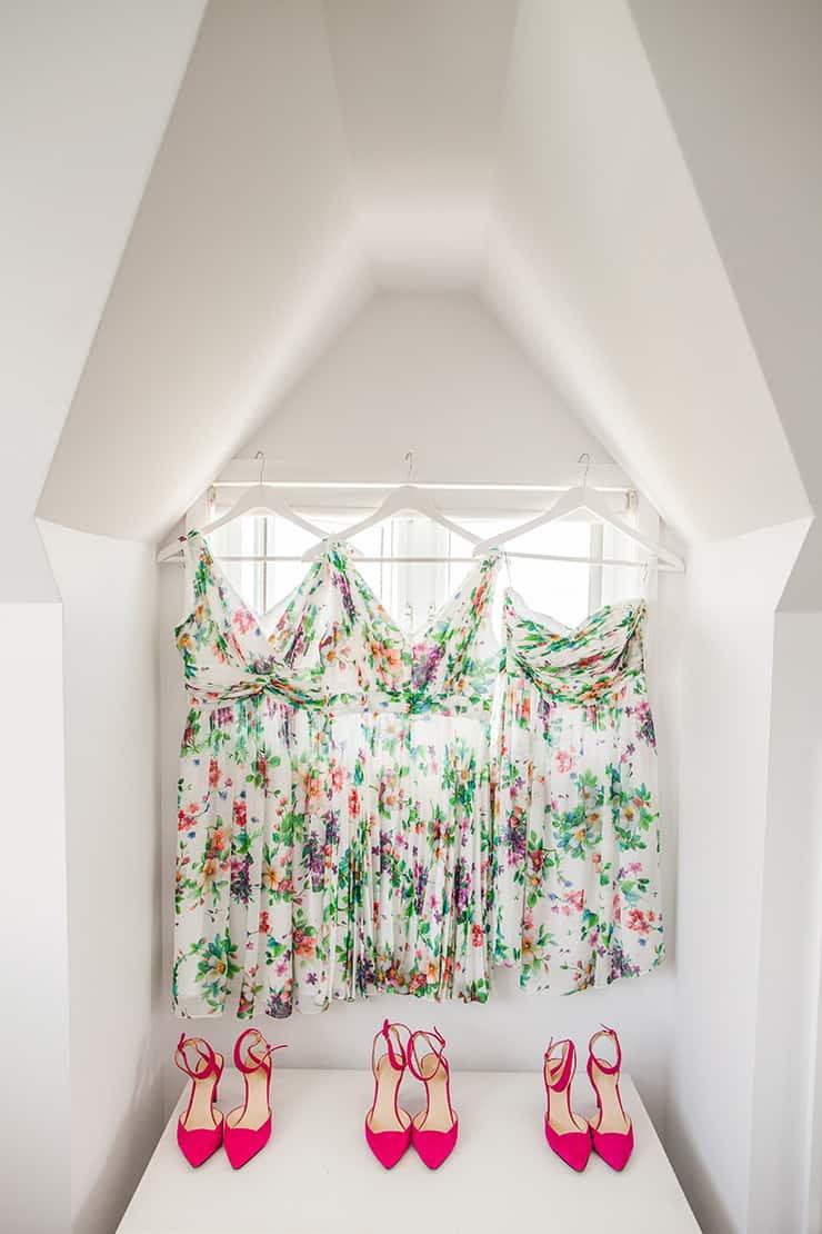 Bold-Bright-Floral-Wedding-Bride-Bridesmaids-Print-Dresses-Pink-Heels