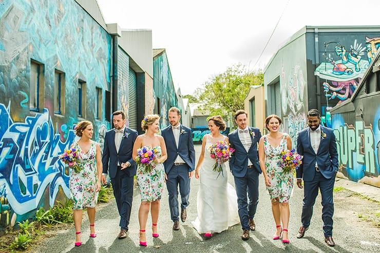 Bold-Bright-Floral-Wedding-Bride-Groom-Bridal-Party