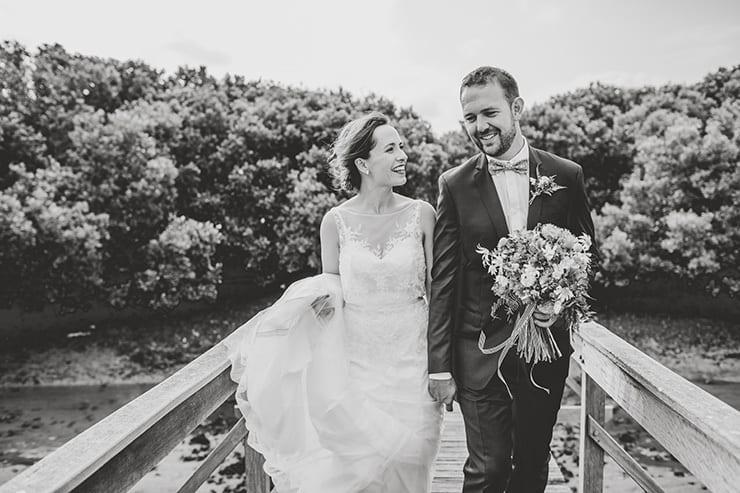 Bold-Bright-Floral-Wedding-Bride-Groom-Portrait-Black-White