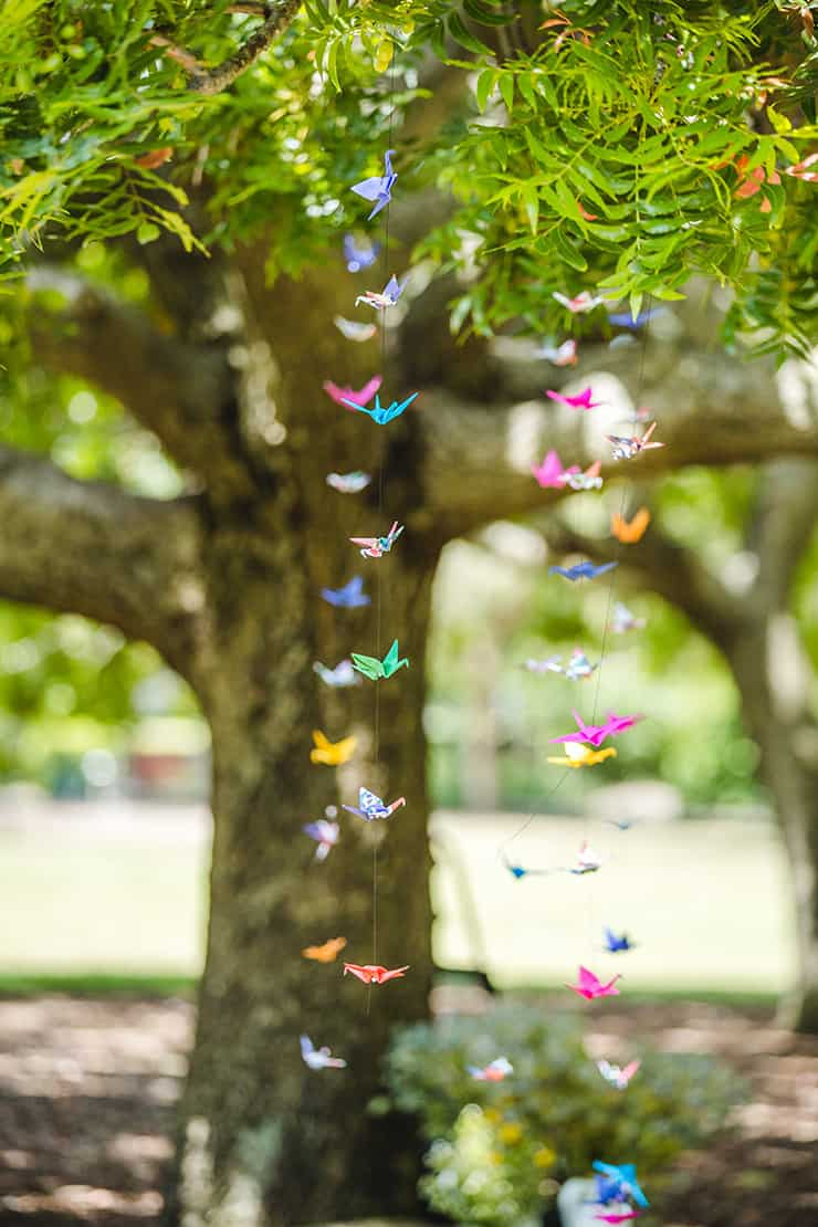 Bold-Bright-Floral-Wedding-Ceremony-Decor-Paper-Cranes