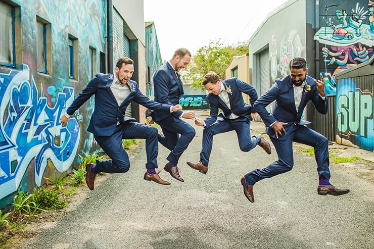 Bold-Bright-Floral-Wedding-Groom-Groomsmen-Navu-Suits-Leap