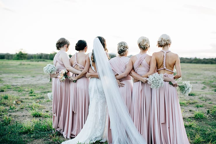 Bridesmaid-Dress-Ideas-Pink-Jersey-Wrap