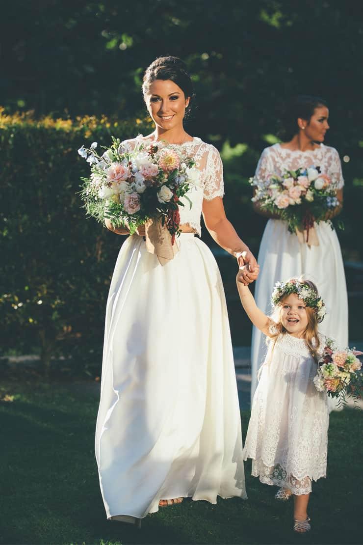 Bridesmaid-Dress-Ideas-White-Two-Piece-Boho-Lace-Crop-Skirt