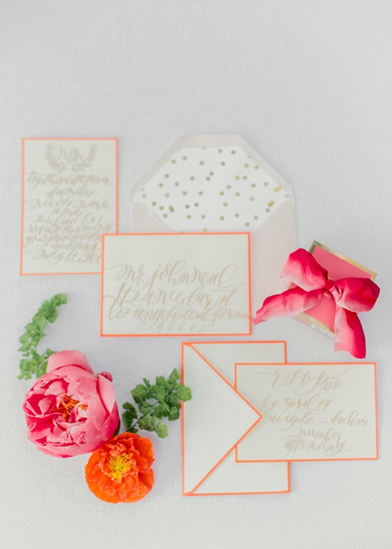 Bright neon pink and orange wedding stationery | Kelle Sauer via Grey Likes Weddings