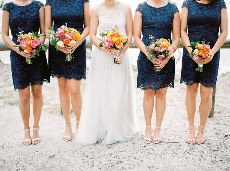 Bright-Waterfront-Cocktail-Wedding-Bride-Bridesmaids-Flowers