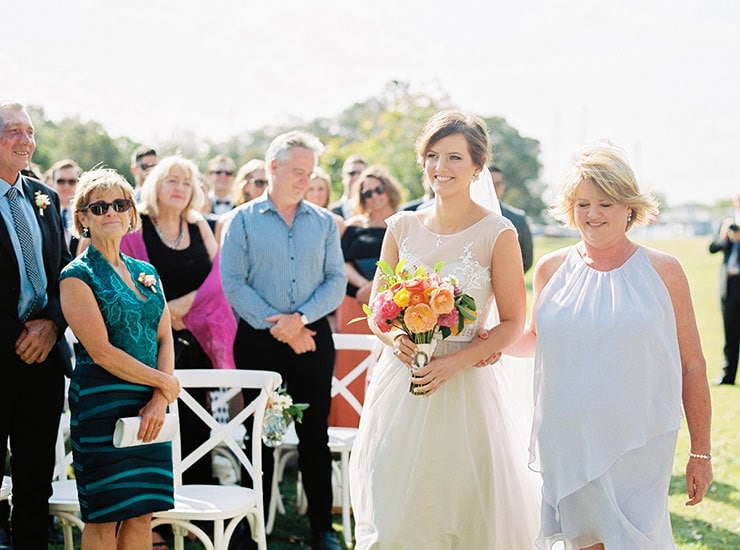 Bright-Waterfront-Cocktail-Wedding-Bride-Ceremony-Aisle