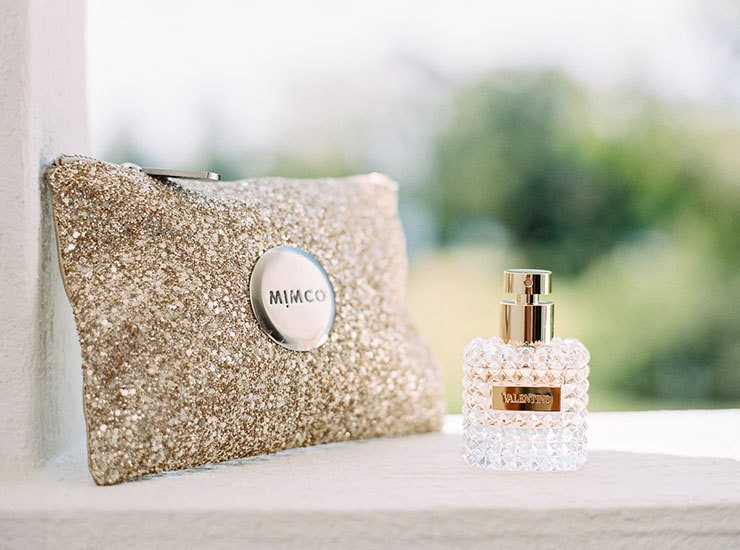 Bright-Waterfront-Cocktail-Wedding-Bride-Clutch-Perfume
