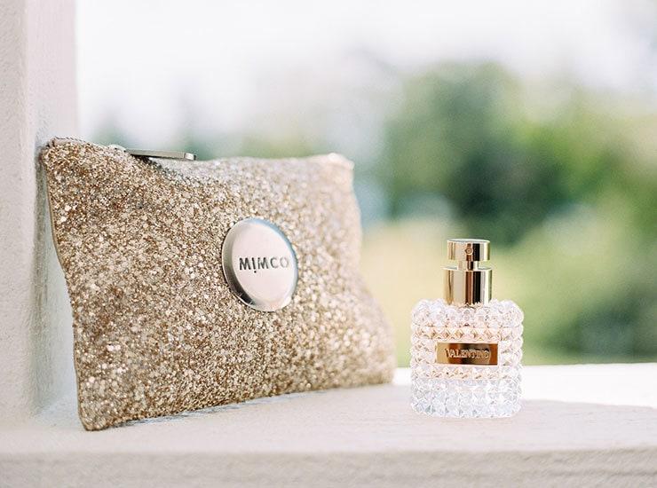 Bright-Waterfront-Cocktail-Wedding-Bride-Clutch-Perfume