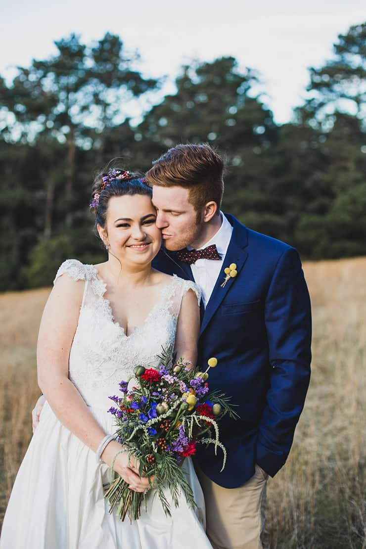 Bright whimsical vintage wedding bride and groom