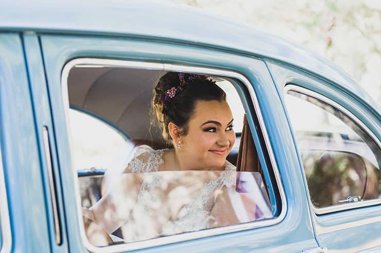 Bride vintage car arrival