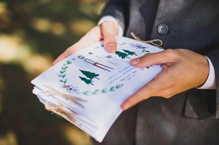 Illustrated woodland wedding ceremony program