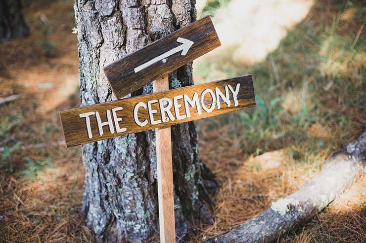 Wedding ceremony wooden signage