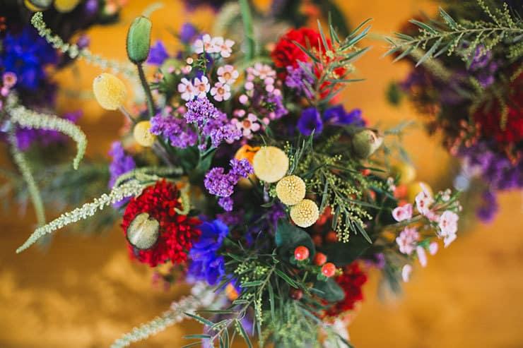 Bright multicolour wildflower wedding bouquet