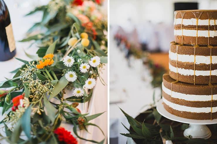 Bright Whimsical Vintage Wedding Reception Flower Table Runner And Caramel Naked Cake