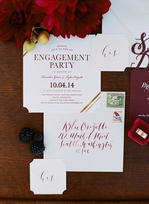 Modern burgundy engagement party invitation | monroe + co via Mrs. Freund & Co.
