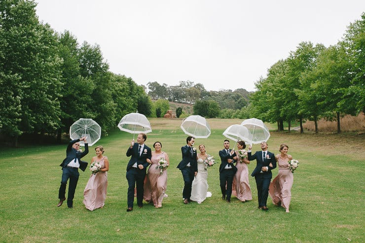 Classic-Estate-Wedding-Pink-White-Bridal-Party-Umbrellas-Funny