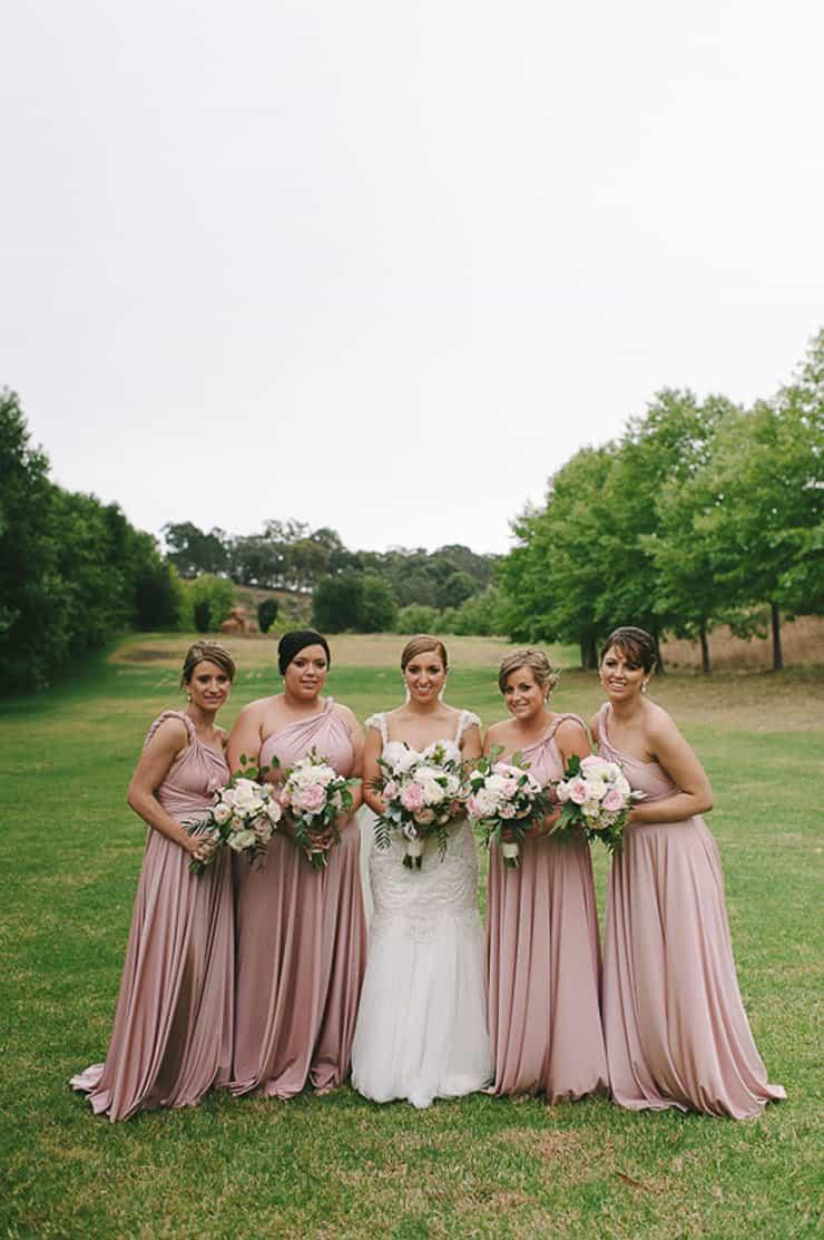 Classic-Estate-Wedding-Pink-White-Bride-Bridesmaid-Dresses