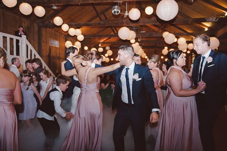 Classic-Estate-Wedding-Pink-White-Reception-Dance-Floor-Bridal-Party