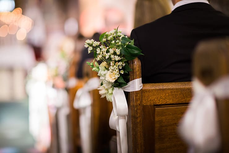 Classic Vintage Winery Wedding Church Ceremony Pew Decorations The