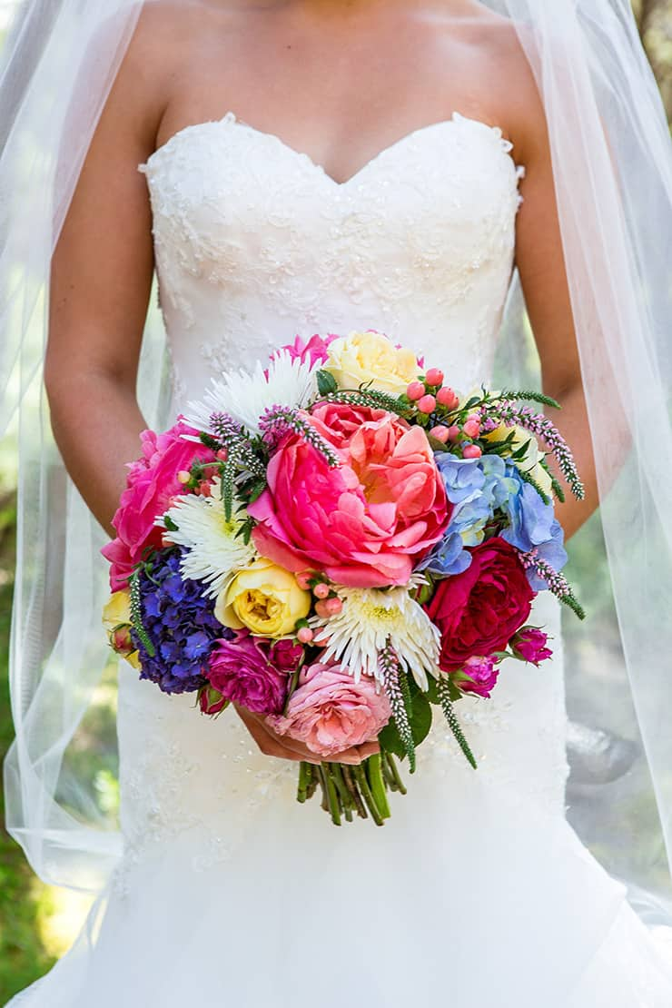 Bright wedding bouquet with peonies, roses and hydrangea