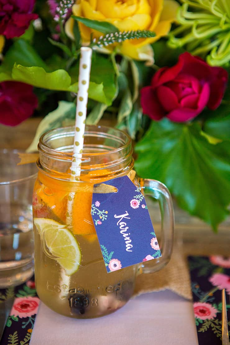 Personalised mason jars for wedding cocktails