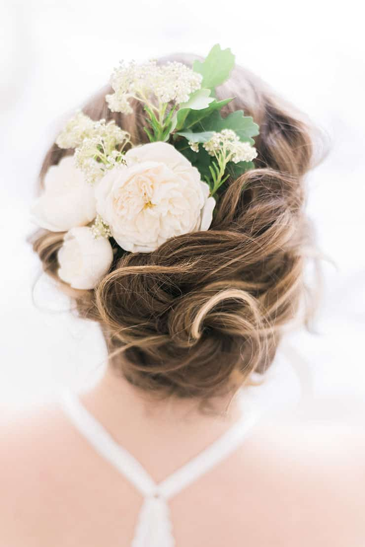 Elegant-Bridal-Boudoir-Inspiration-Relaxed-Updo-Hair-with-Flowers