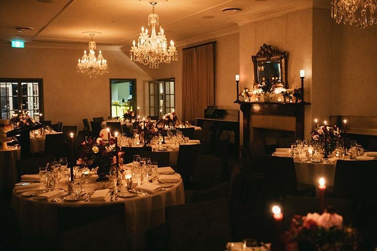 Elegant Candlelit Burgundy Wedding