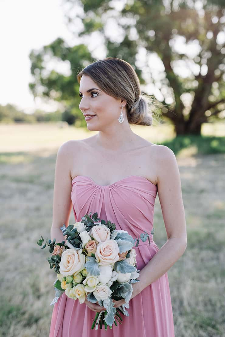 Elegant-Cocktail-Style-Wedding-Bridesmaid-Pink-Dress-Bouquet