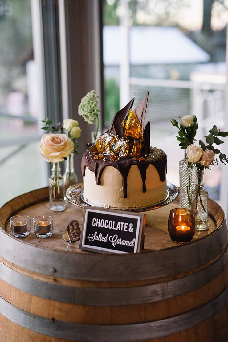 Elegant-Cocktail-Style-Wedding-Cake-Chocolate-Salted-Caramel
