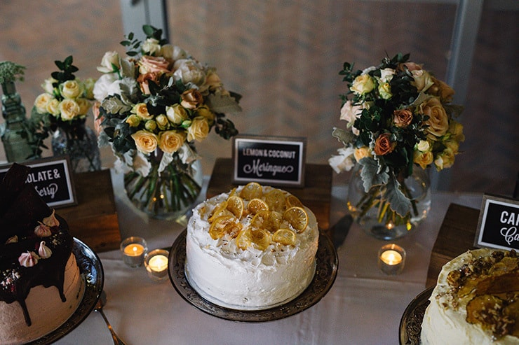 Elegant-Cocktail-Style-Wedding-Cake-Lemon-Coconut-Meringue