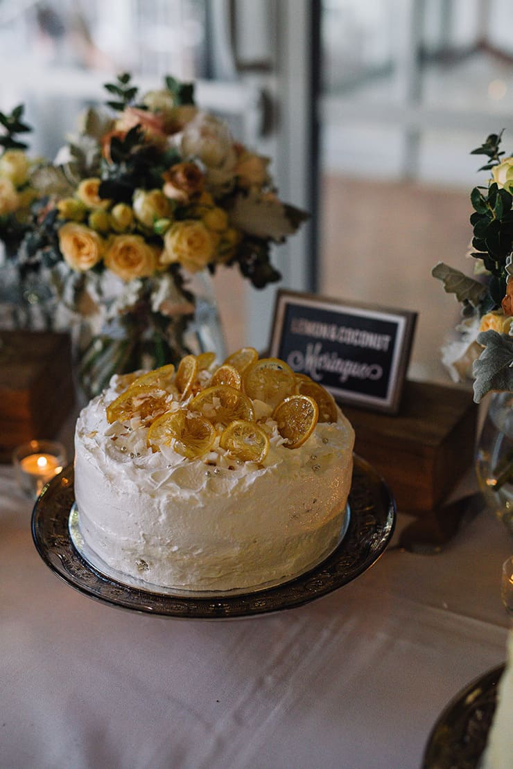 Elegant-Cocktail-Style-Wedding-Cake-Lemon-Coconut